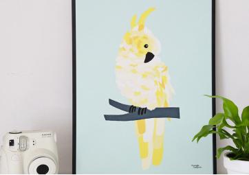 Affiche Perroquet jaune - MICHELLE CARLSLUND