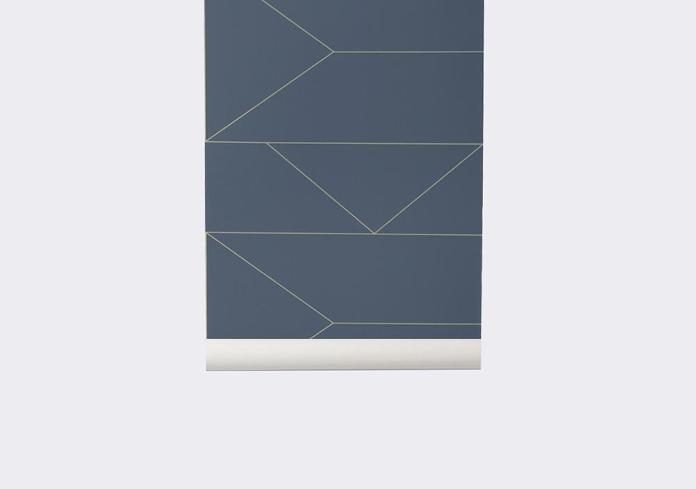 Papier peint Lines bleu foncé - FERM LIVING