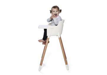 Chaise bébé - Blanche et chêne - FLEXA