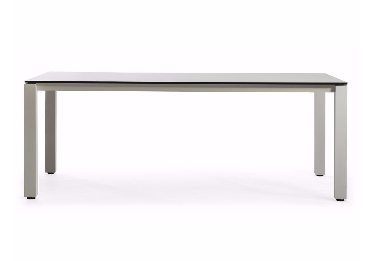 Table Machar 200x100 cadre blanc et plateau ceramique blanc - OASIQ