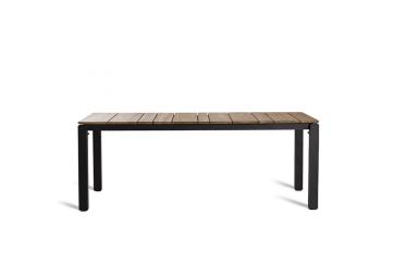 Table Machar cadre noir et plateau teck - OASIQ