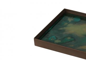 Plateau carré verre Malachite Organic - NOTRE MONDE