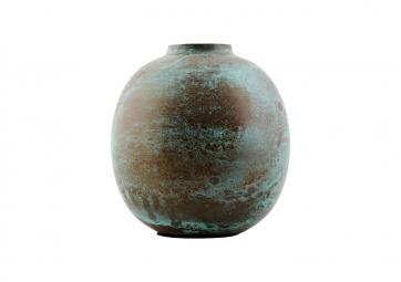 Vase rond Effect vert h14cm - HOUSE DOCTOR