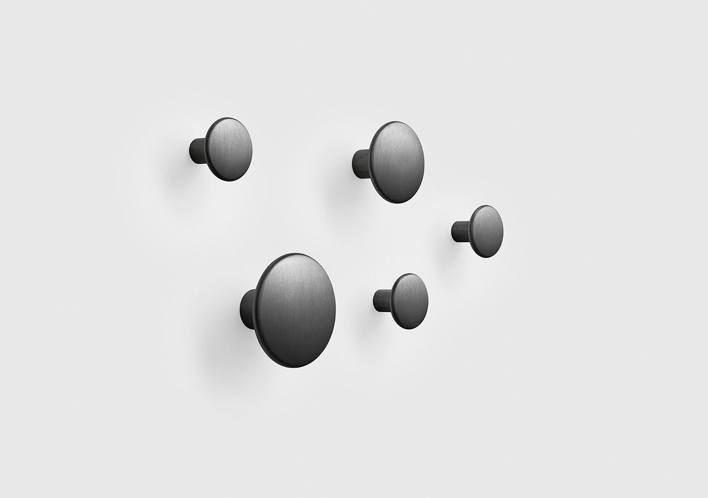 Set 5 Dots Patères métal - Black - MUUTO