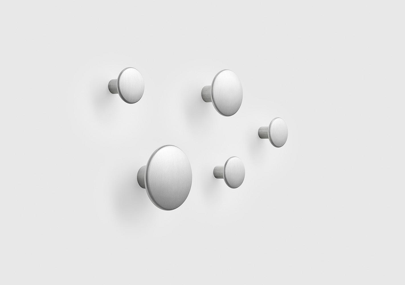 Set 5 Dots Patères métal - Aluminium - MUUTO