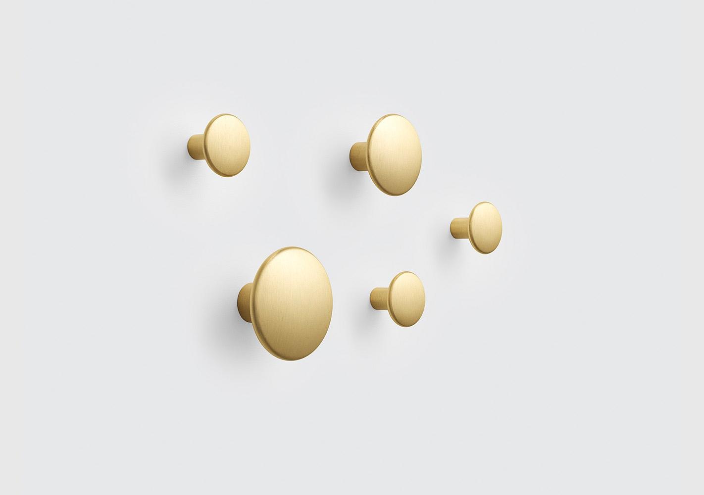 Set 5 Dots Patères métal - Brass - MUUTO