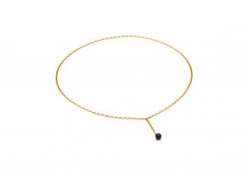 """Collier """"Hang on"""" chaîne plaquée or et perle noire mate - LOUISE KRAGH"""