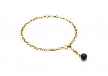 """Bracelet """"Hang on"""" chaîne plaquée or et perle noire mate - LOUISE KRAGH"""
