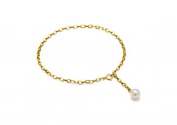 """Bracelet """"Hang on"""" chaîne plaquée or et perle blanche - LOUISE KRAGH"""
