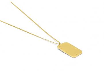 """Collier """"Raw"""" chaîne et plaque plaquée or + diamant - LOUISE KRAGH"""
