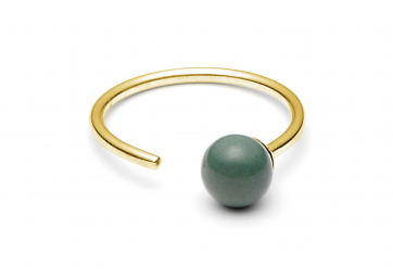 """Bague """"Minipearl"""" plaquée or une perle vert foncé - LOUISE KRAGH"""
