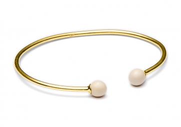 "Bracelet ""Minipearl"" jonc plaqué or et 2 perles nude - LOUISE KRAGH"