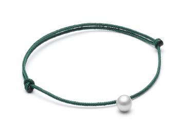 """Bracelet """"Freshwater Pearl"""" cordon vert foncé et perle grise - LOUISE KRAGH"""