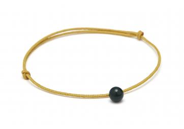 "Bracelet ""Minipearl"" cordon moutarde perle vert foncé - LOUISE KRAGH"