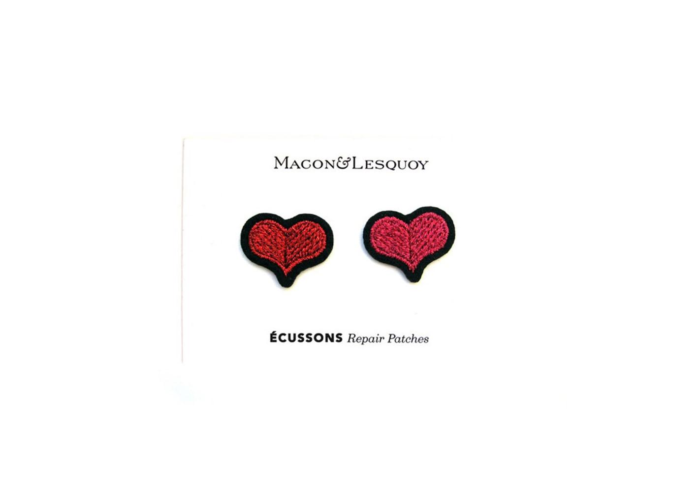 """2 Ecussons """" Coeurs rouge + rose """" - MACON & LESQUOY"""