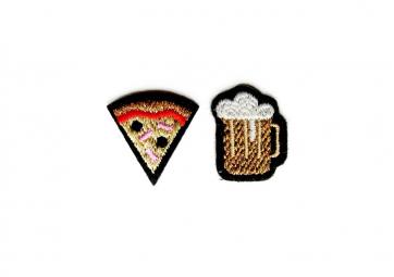 """2 Ecussons """" Bière Pizza """" - MACON & LESQUOY"""