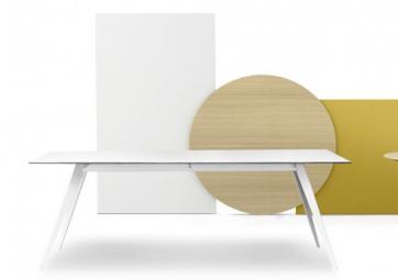 Table Aise - Pieds métal blanc - TREKU