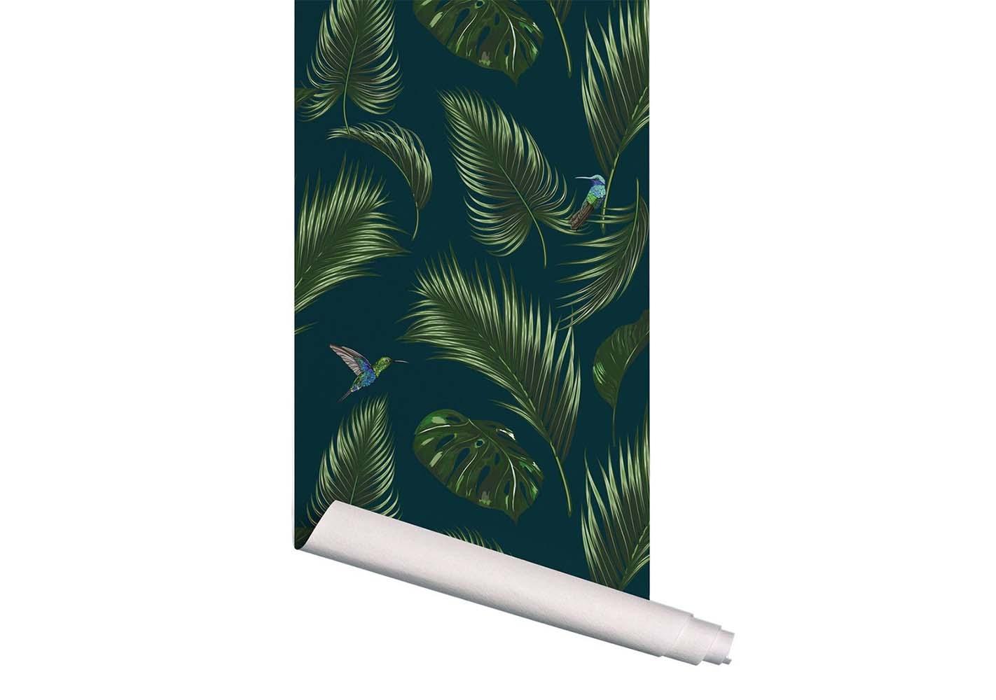Papier peint Jungle Bleu canard - PAPERMINT