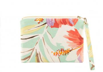 Pochette zippée Hibiscus vert - ANGEL & MIOSOTTI