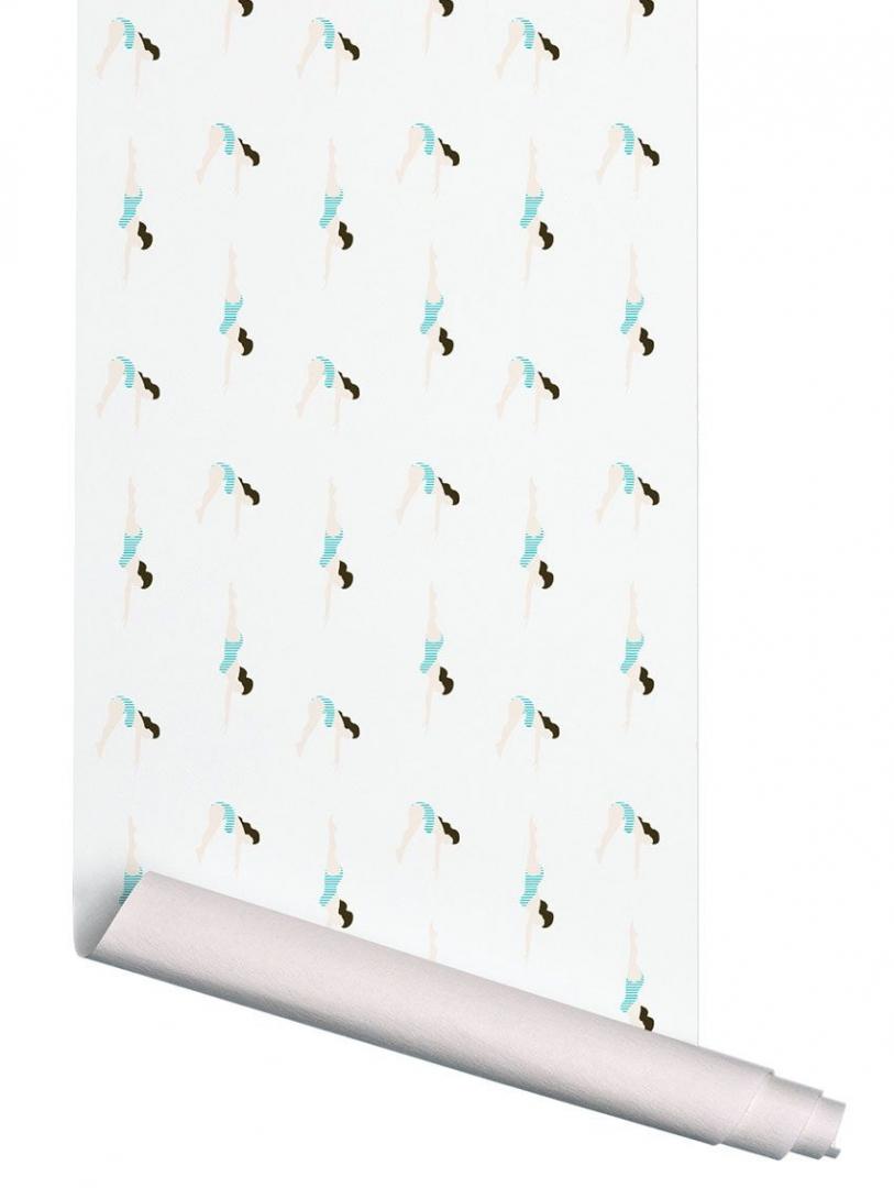 Papier peint Le Plongeon Blanc - PAPERMINT