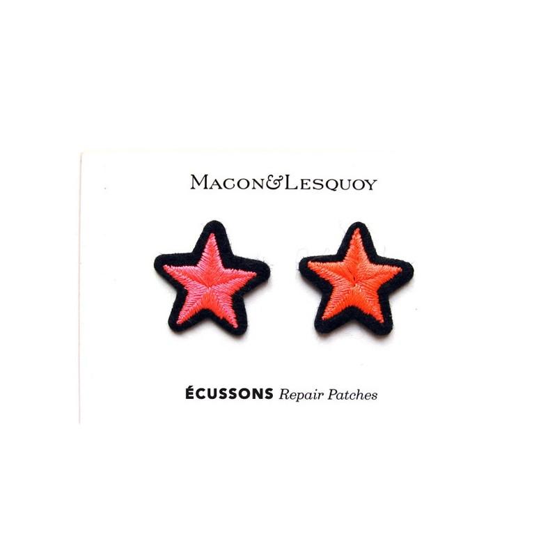 """2 Ecussons """" Etoile dorée + argentée """" - MACON & LESQUOY"""