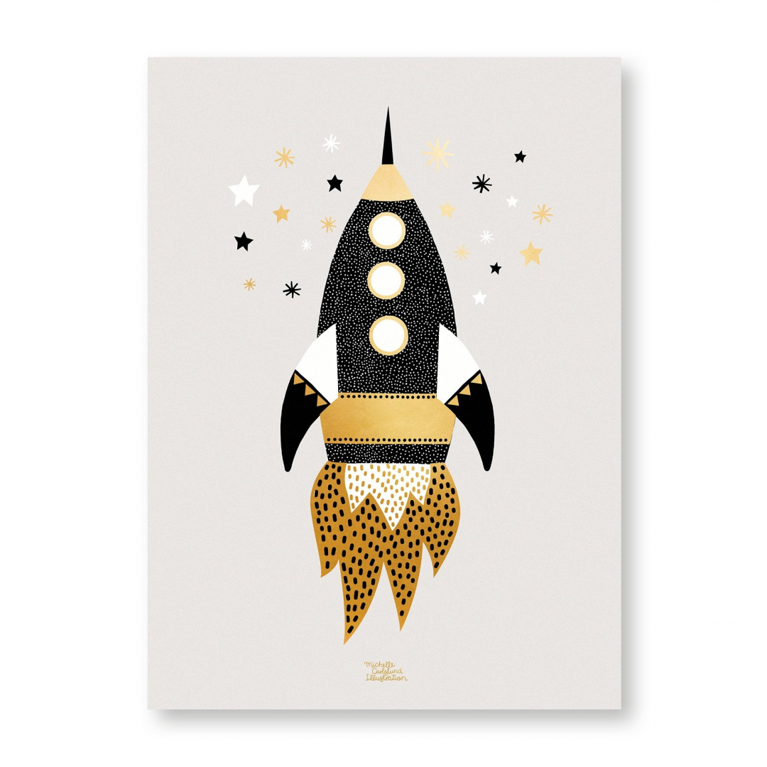 Affiche Gold Space Ship - MICHELLE CARLSLUND