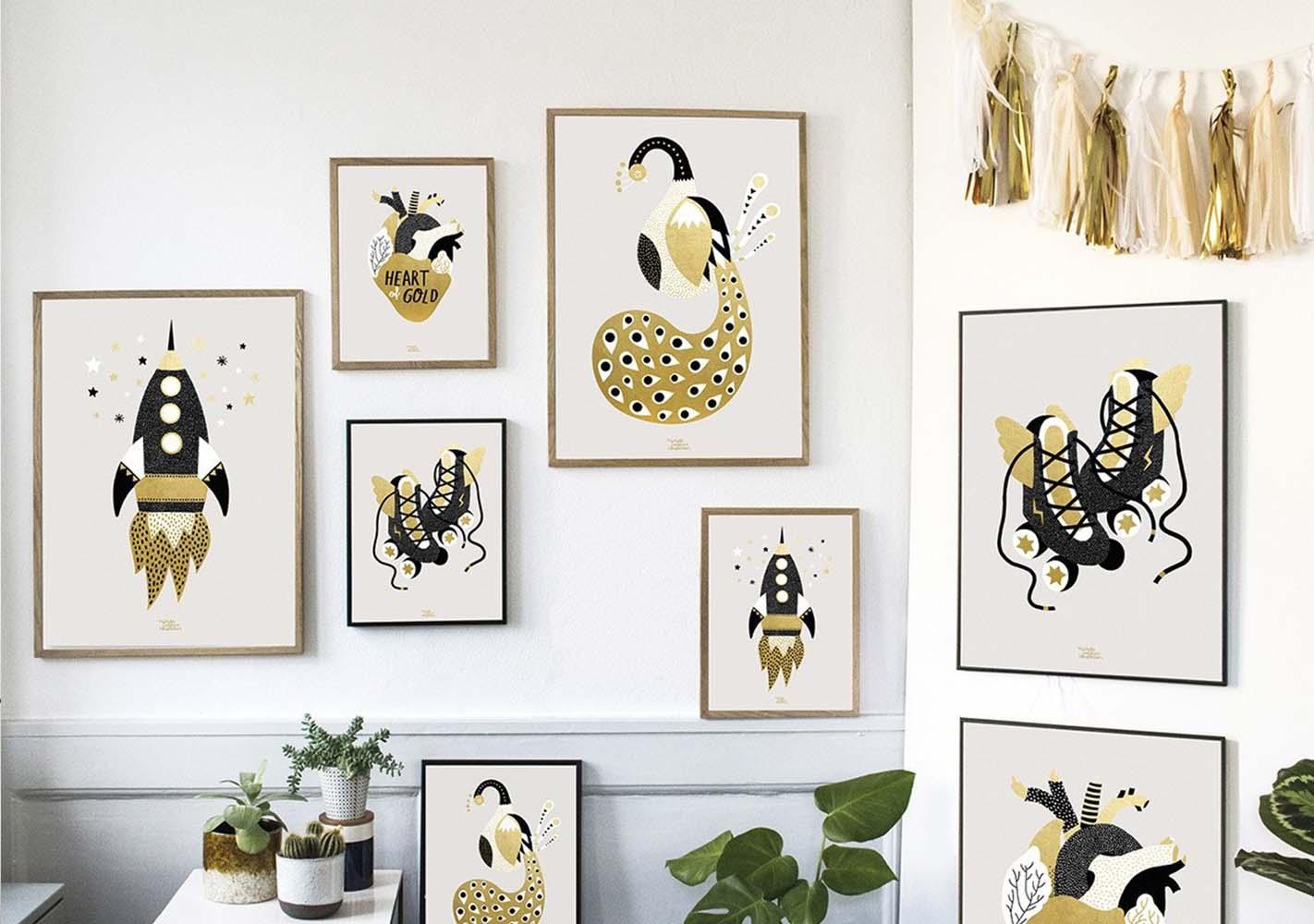 Affiche Gold Peacock - MICHELLE CARLSLUND