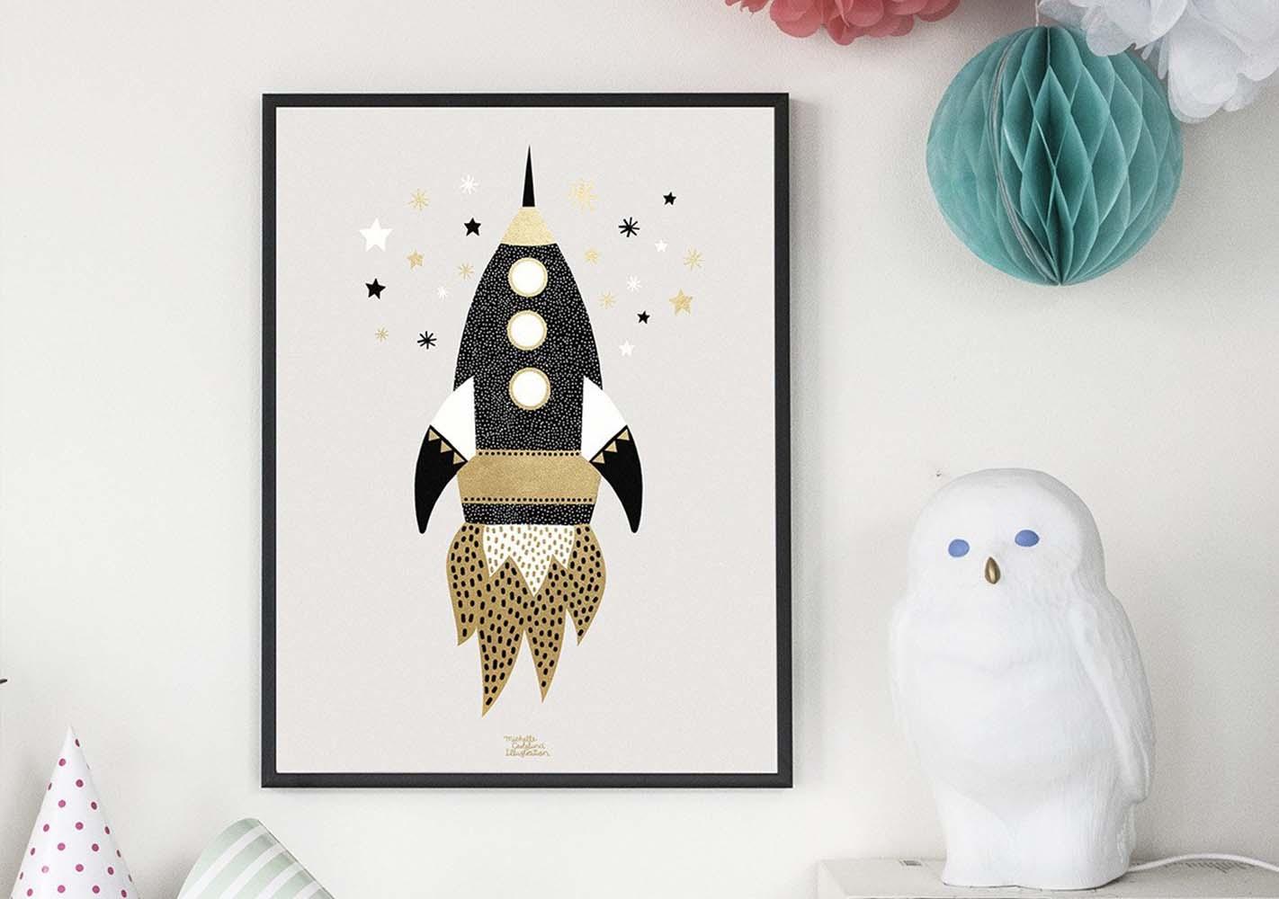 Affiche Gold Space Ship - MICHELLE CARLSLUND