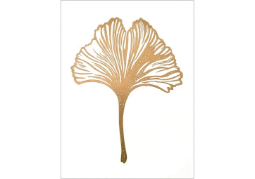 Affiche feuille de Gingko dorée sur fond blanc - MONIKA PETERSEN