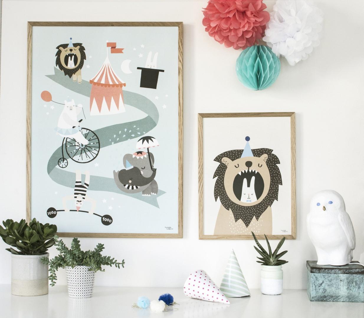 Affiche Lion & Bunny  30x40cm - MICHELLE CARLSUND