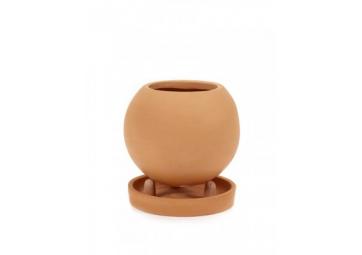Pot de fleurs rond à poser avec soucoupe - SERAX