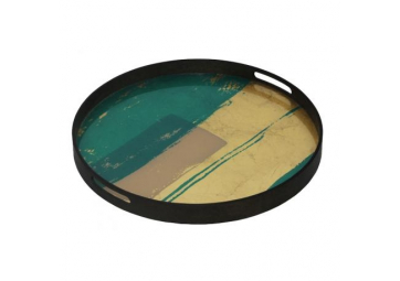 Plateau en verre Turquoise Abstract - ETHNICRAFT ACCESSOIRES