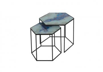 Set de tables hexagones Cobalt mist organic- ETHNICRAFT ACCESSOIRES