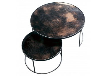Set de 2 tables basses Bronze Heavy Aged Mirror - ETHNICRAFT