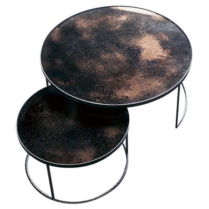 Set de 2 tables basses Bronze Heavy Aged Mirror - NOTRE MONDE
