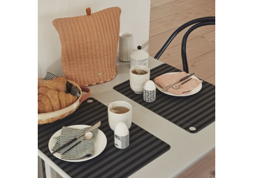 Lot de 2 sets de table rayés anthracite / noir - OYOY