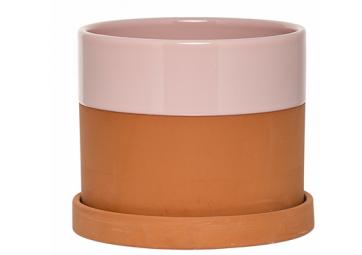 Pot de fleur avec coupelle en céramique rose - BLOOMINGVILLE