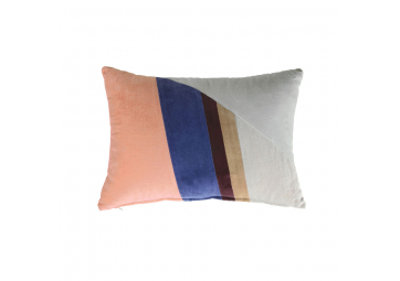 Coussin patch velours multicolore