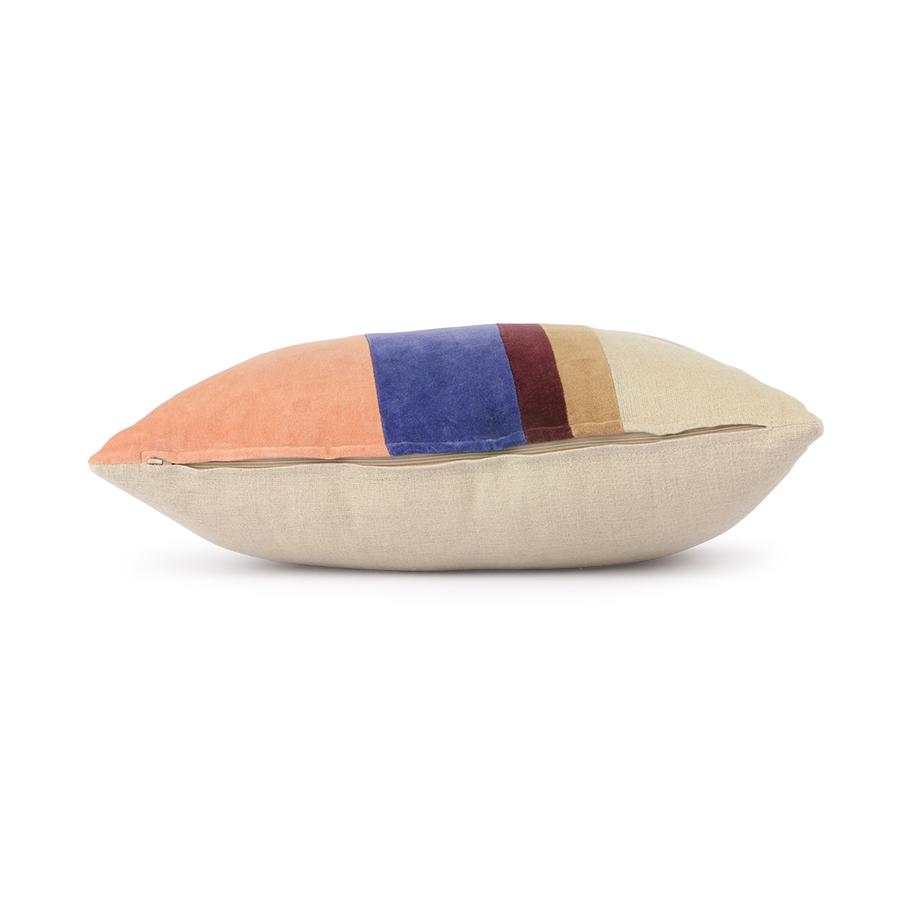 Coussin patch velours multicolore