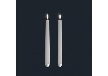 Lot de 2 bougies electroniques - 2,5 x 28 cm - Ivoire