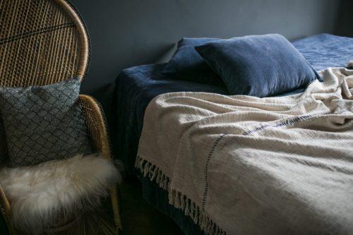 Jeté en coton bio Bleu/Blanc - Days - 140x200cm