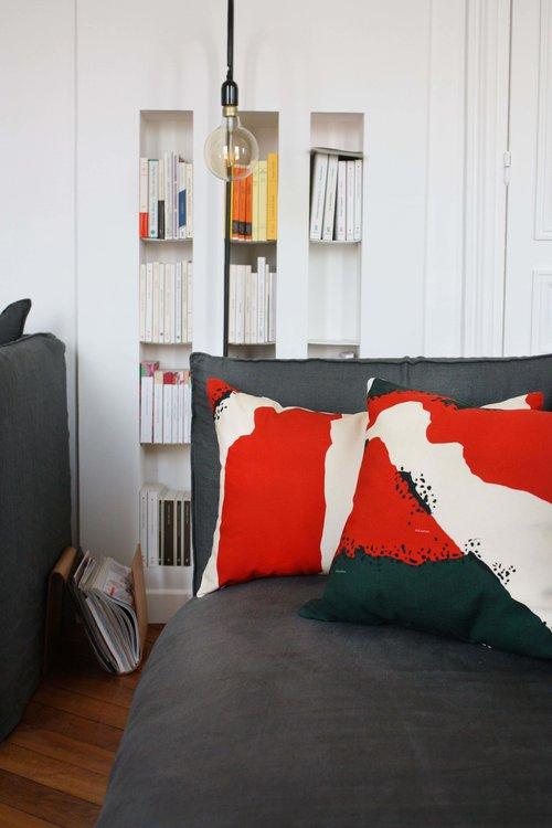 BROOME Rouge/Vert - Coussin 43x43 cm - ADJAMEE