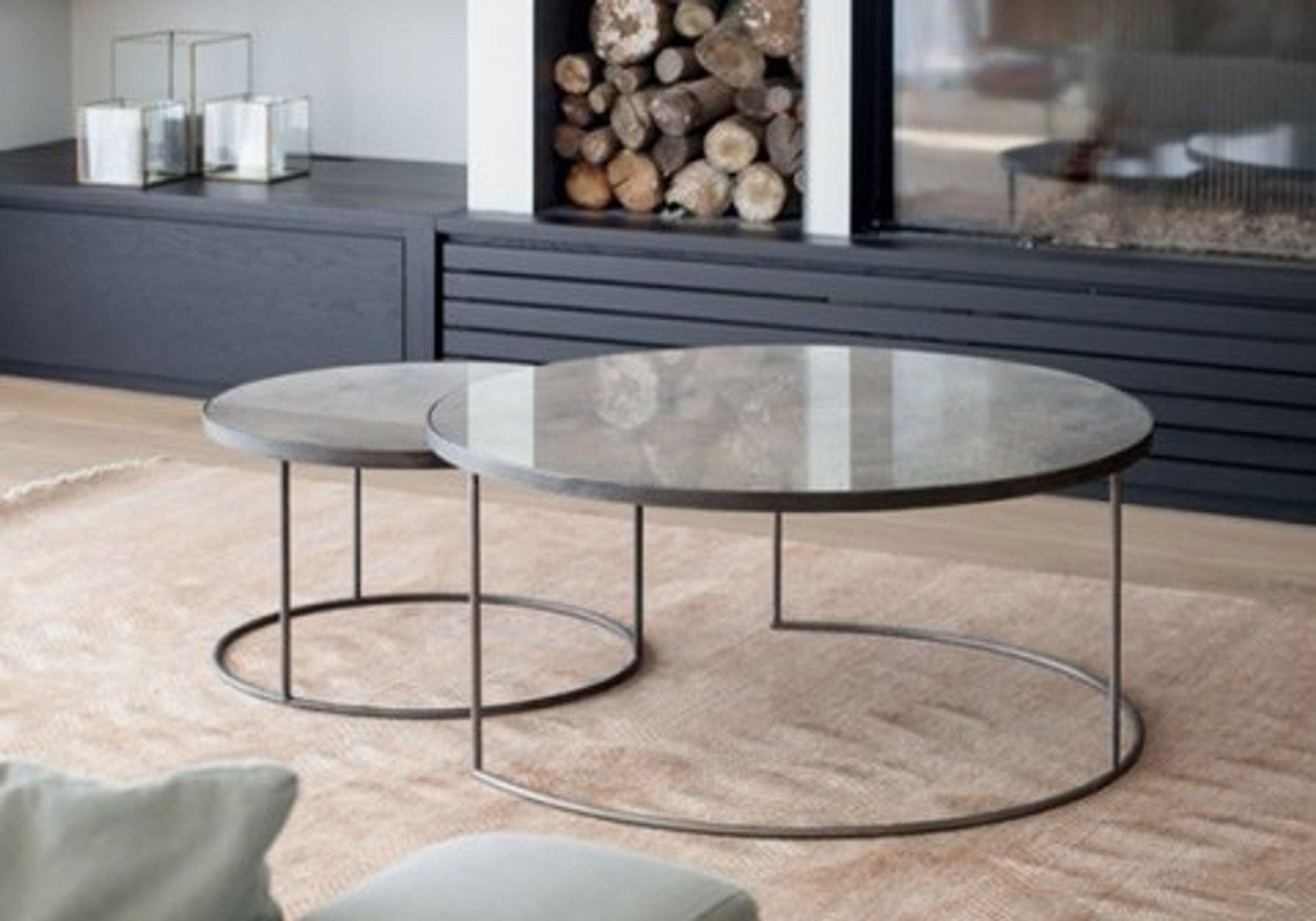 Set de 2 tables basses Clear Heavy Aged Mirror - NOTRE MONDE
