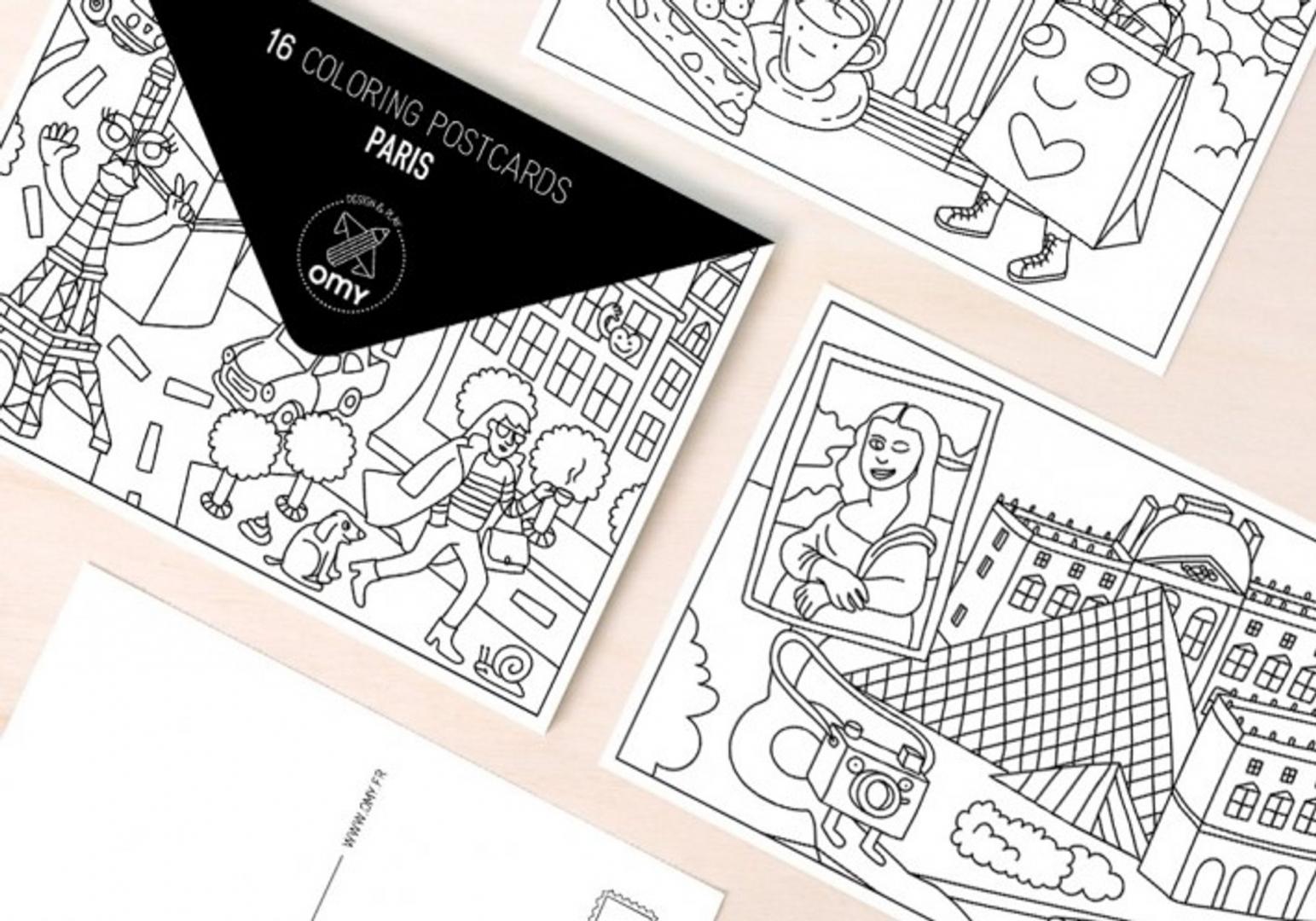 Cartes postales à colorier Paris - OMY