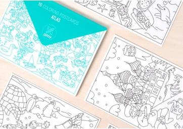 Cartes postales à colorier Atlas - OMY