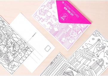Cartes postales à colorier New York City - OMY