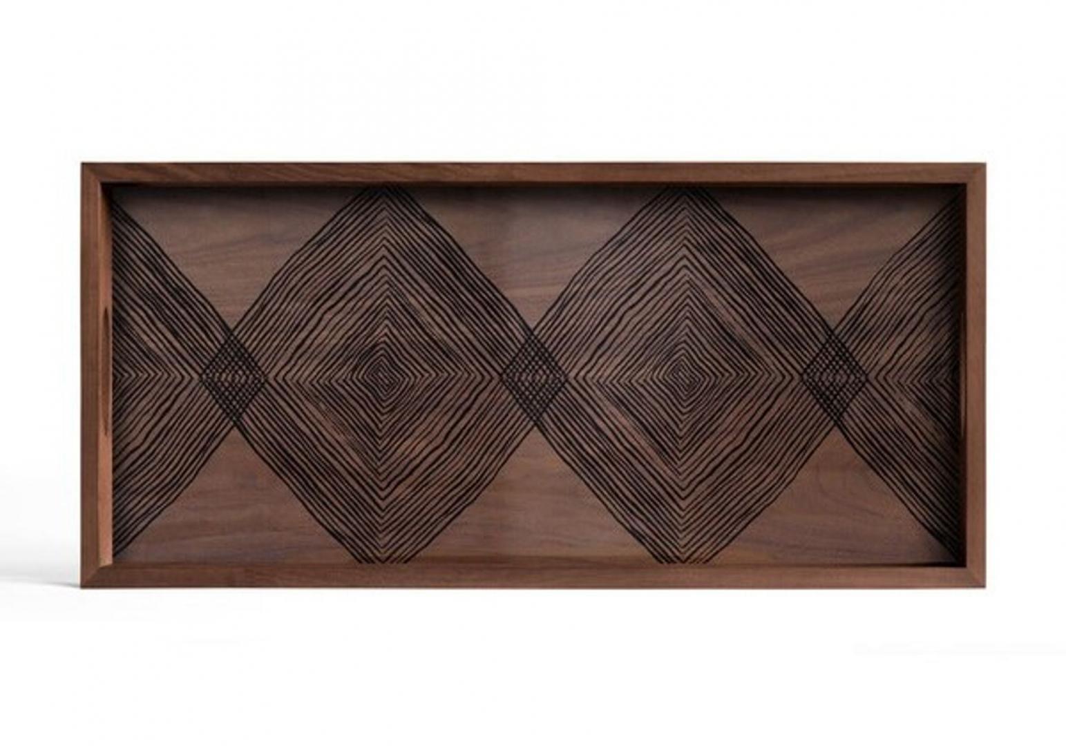 Plateau Walnut Linear Squares glass - rectangular - ETHNICRAFT ACCESSOIRES