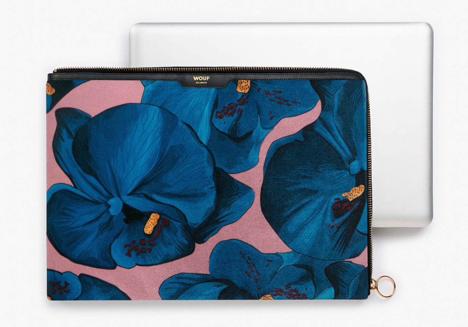"Housse en velours Orchidée macbook 13"" - WOOUF"