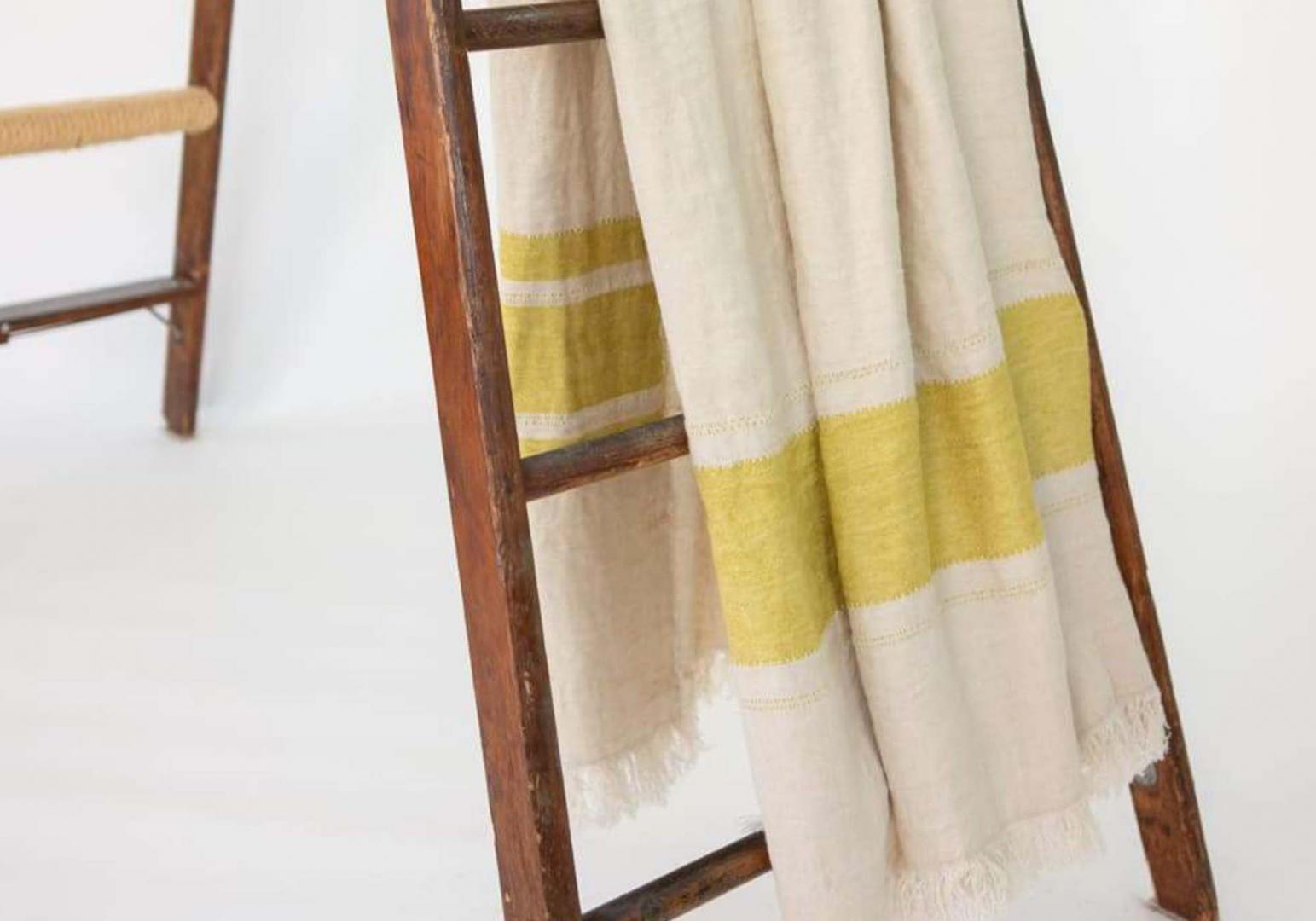 The Belgian Towel Fouta mustard stripe - LIBECO