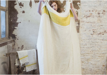The Belgian Towel Fouta Mustard stripe - LIBECO